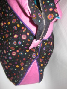 Retro Dots with PINK Denim - Side view