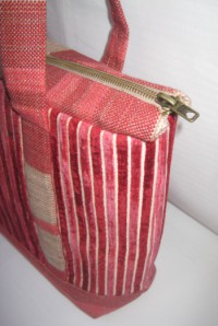 Zipped Shoulder Tote - Side/ Top View