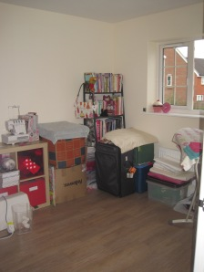 My workroom, kind of unpacked, but some bits still in boxes!