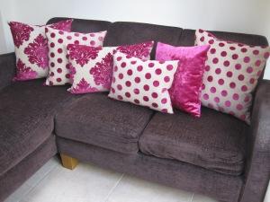 John Lewis veneto velvet Magenta cushion covers