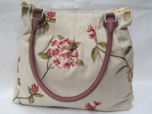 For Pleats Sake Tote - Linen with Pink & Olive embroidery