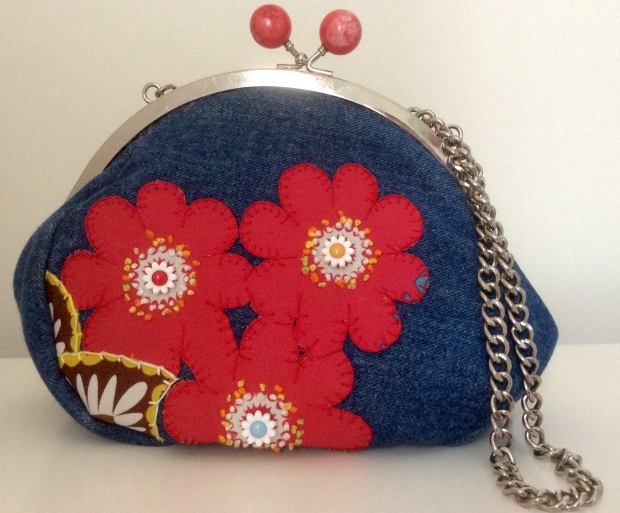 DENIM EMBROIDERED CLUTCH, custom order. Red flowers blanket stitched on with flower buttons and tinny bullion knots