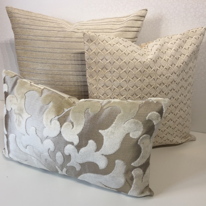 Cream cushion collection by Maree - The mad seamstress's of MoGirl DESIGNS in Osborne and Little designer fabric. www.etsy.com/uk/shop/MoGirlDESIGNS
